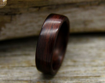 Bentwood Ring - Indian Rosewood Wooden Ring - Handcrafted Wood Wedding Ring - Custom Made