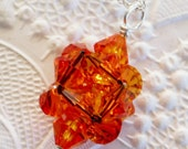 Fire Opal Orange Fairy Star Necklace