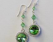 Swarovski Peridot Green Rivoli Earrings