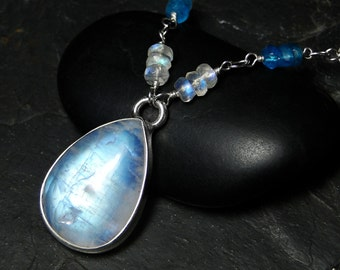 Rainbow Moonstone Necklace, London Blue Topaz, Sterling Silver - Orion by CircesHouse on Etsy