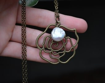 Rose Necklace, Pearl, Vintage Brass, Large Pendant, Romantic Jewelry