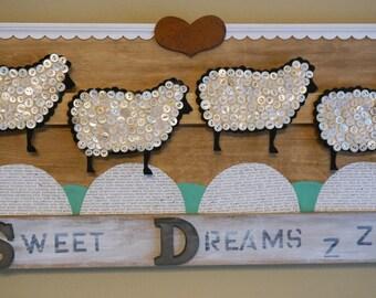 FREE SHIPPING, Vintage, Mixed Media, Folk Art, Lamb, Sheep, Sleep, Sweet Dreams Sign