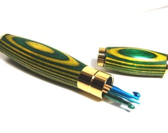 Wooden Needle Case, Handmade Hook Holder, Laminated Wood Knitting Needle and Crochet Hook Holder, Green and Yellow