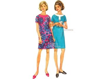 Butterick 4785 1960s Shift Dress Pattern, Bust 37, Semi-fitted Dress with Pleats & Short Raglan Sleeves, Uncut