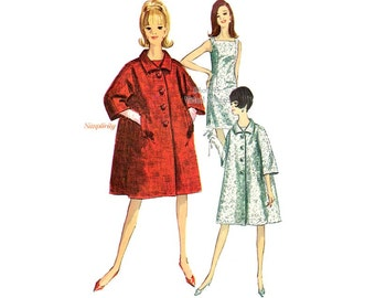 1960s Shift Dress and Trapeze Coat Pattern Simplicity 6790, Lined Coat & Sleeveless Dress Vintage Sewing Patterns, Uncut