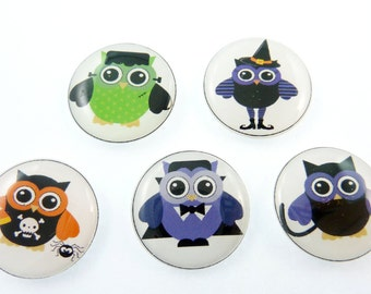 """5 NO HOLE Halloween Flat bead or Cabochon. 3/4"""" or 20 mm.  Hair Bow Button.  Handmade By Me. Vampire, Witch, Frankenstein."""