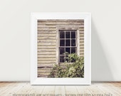 Farmhouse Photography, Rural Decay, Abandoned, Window Photography, Dark Rustic, Country Chic, Cottage Decor, Neutral, Cream White Tan Brown