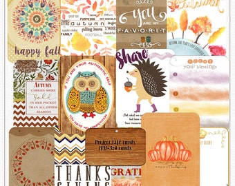 Happy Fall Project Life Cards, Journaling Cards, Notes and Tags
