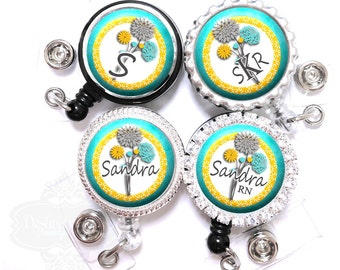 Teal and Gray Flower Badge Reel - Personalized Yellow Floral Retractable Lanyard ID Holder with Name, Monogram, Occupation Title (A227)