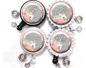 Floral Badge Reel - Personalized Pink Polka Dots and Flowers Retractable Lanyard Id Holder with Name, Monogram, Occupation Title (A056)