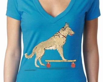 dog shirt - skateboard shirt - womens tshirts - animal shirt - funny tshirts - dog lover gift - skateboard party -SKATEBOARD DOG -deep vneck