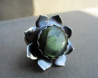 Lotus Flower Bliss Ring with Golden Green Labradorite, Adjustable Ring, Mixed Metal, Bohemian, Gypsy, Big Statement Ring, Mystical