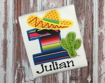 Fiesta Birthday Shirt  - Sombrero Birthday Shirt - Cactus - Mustache - Serape Fabric - Cinco de Mayo Shirt - Personalized Birthday