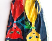 Silk scarf- Red Cat Yellow Cat/ Hand painted  scarf- Crepe de Chine scarf- Cat lovers gift- Animal scarves- Bright summer scarf
