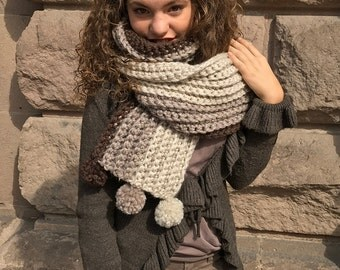 Long Wide Ombre Scarf with 6 Cute fluffy pompoms. Cozy, Bulky, Warmth! Soft Earth Tones. Brown Ombre winter scarf, Pom Pom scarf ombre