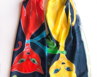 Silk scarf- Red Cat Yellow Cat/ Hand painted  scarf- Crepe de Chine scarf- Cat lovers gift- Animal scarves- Cats scarf unique Bright scarf