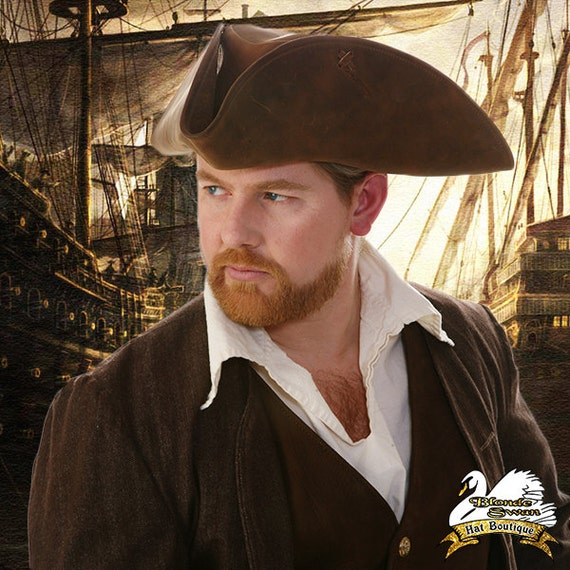 SALE!!! Swashbuckler Leather Tricorn Pirate Hat