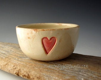 Pottery Bowl in Rustic White with Romantic Heart - Pottery Bowl with Romantic Heart - by DirtKicker Pottery