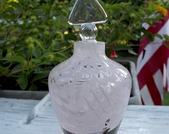 Beautiful Pink Swirl Glass Perfume Bottle Maybe Fenton?