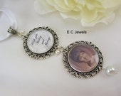 Wedding Bouquet Memorial Photo Charm with a Pearl Accents - Pick your color
