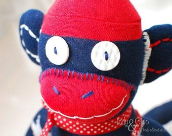 Handmade Sock Monkey Doll, Plushie, Stuffed Animal Toy, Art Doll, Red White Stars Blue, Monkey Lover Gift, 2016 Year of the Monkey, SAMMY