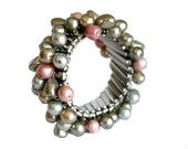 Vintage Cha Cha Silver Expansion Bracelet Pearly Beads Made in Japan Costume Jewelry