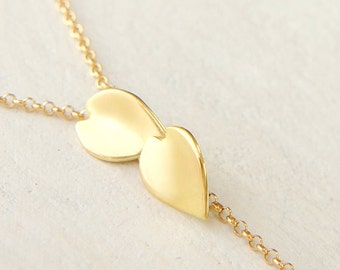 Cherry Blossom Necklace, 18k Solid Gold, Dainty Y Necklace, Sakura Japanese Jewelry, Yellow Gold