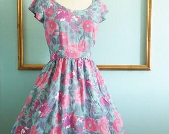 retro floral print  dress - womens retro clothing - FREE US SHIPPING
