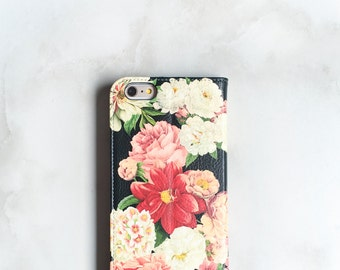 Floral Faux Leather Wallet iPhone 6 Wallet Case Floral Bunch on Black, iPhone 6S Plus Womens Wallet