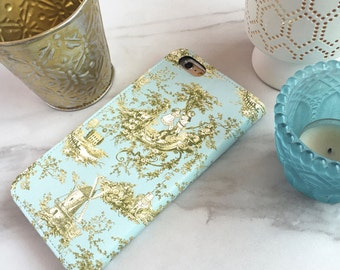 Phone Case French Country Toile  Wallet Case Cottage Chic, iPhone 7 / 6 / 6S / Plus Flip Case