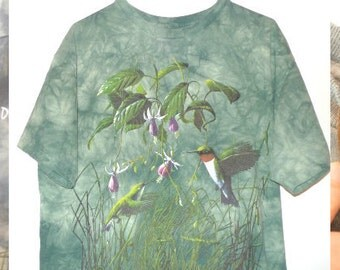 "Hummingbirds Wildflowers VTG TShirt Green Tie Dye Cotton Tee Bird Top 42""W 28""L Hippy The Mountain Adirondacks Inlet NY James Hautman Nature"