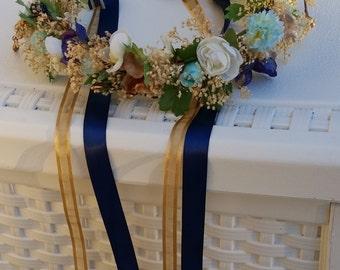 dried flower crown Gold Aqua Mint navy accents wedding acessories Birthday Photo Shoot prop silk babys breath little girl halo Bridal