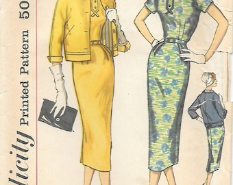 Simplicity 2372 1950s Wiggle Dress and Jacket Vintage Sewing Pattern Bust 34 Slenderette Sheath