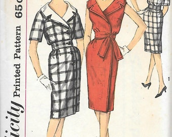 Simplicity 3868-UNCUT 1960s Wrap Closing Dress with Notched Collar Vintage Sewing Pattern Bust 32