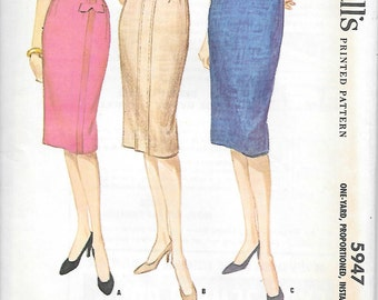 McCalls 5947-1960s Detailed Pencil Skirt UNCUT Vintage Sewing Pattern Waist 28 Proportioned Wiggle Skirt