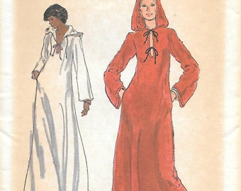 Vogue 9196 UNCUT 1970s Boho Caftan with Hood Vintage Sewing Pattern Bust 32.5 Lace Up Front