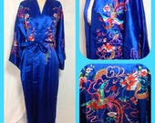 Reserved for Lori - Royal Blue Satin Robe by Plum Blossoms with Embroidered Dragon and Phoenix - Size Medium