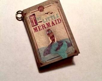 The LITTLE MERMAID mini Blank Paper BOOK Pendant/Charm-Fairytale book-Miniature book-Mini Book-Mermaid charm-Mermaid Pendant-Ariel Charm