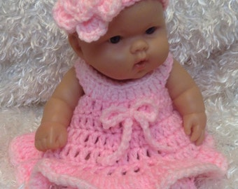 10 Inch and 8 inch Doll clothes.2 Tone Pink Dress Set or colors of choice