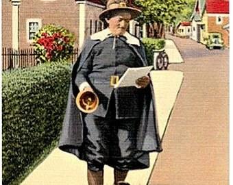 Vintage Cape Cod Postcard - Ye Olde Towne Crier of Provincetown (Unused)