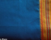 Saree Fabric By The Yard, Teal Blue Indian Cotton Sari Fabric, Ethnic Fabric, Blue Indian Sari Fabric, Handloom Fabric, Border Print Fabric