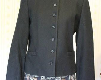Vintage SAVILLE Classic Black Wool Blazer, 70s, Size 10/Small