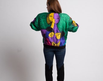 Picasso Satin Print Bomber Jacket