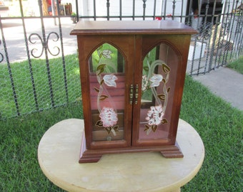 Jewelry Box Wood with Glass Doors