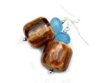 Vintage Flare Earrings Recycled Golden Honey Blue Jade Beaded Renewed Reclaimed Retro Mocha Brown Barrel Beads Silver Dangles by Mei Faith