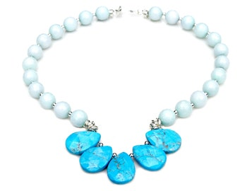 Aquamarine Faceted Turquoise STATMENT Necklace Blue Ice Goddess Style Shades of Blue Feminine Boho Summer Country Chic Ocean Flare Mei Faith