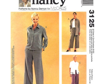 Shirt Jacket, Capri Pants Pattern McCalls 3125 Size 8 to 22 Shaped Hem Top, Sewing With Nancy