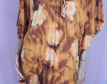 Vintage hawaiian muumuu , womens,caftan. Pleated dress, Barkcloth dress .Large