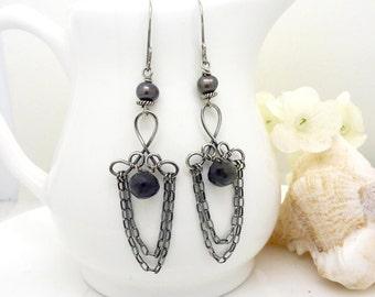 Long iolite earrings in sterling silver, dark black brown oxidized silver chandelier earrings with freshwater pearls
