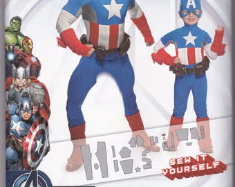 Simplicity 1030 Captain America Avengers Marvel Comic Book Hero Sewing Pattern Men's Adult Size S-M-L-XL and Kids Size 3-4-5-6-7-8 New Uncut